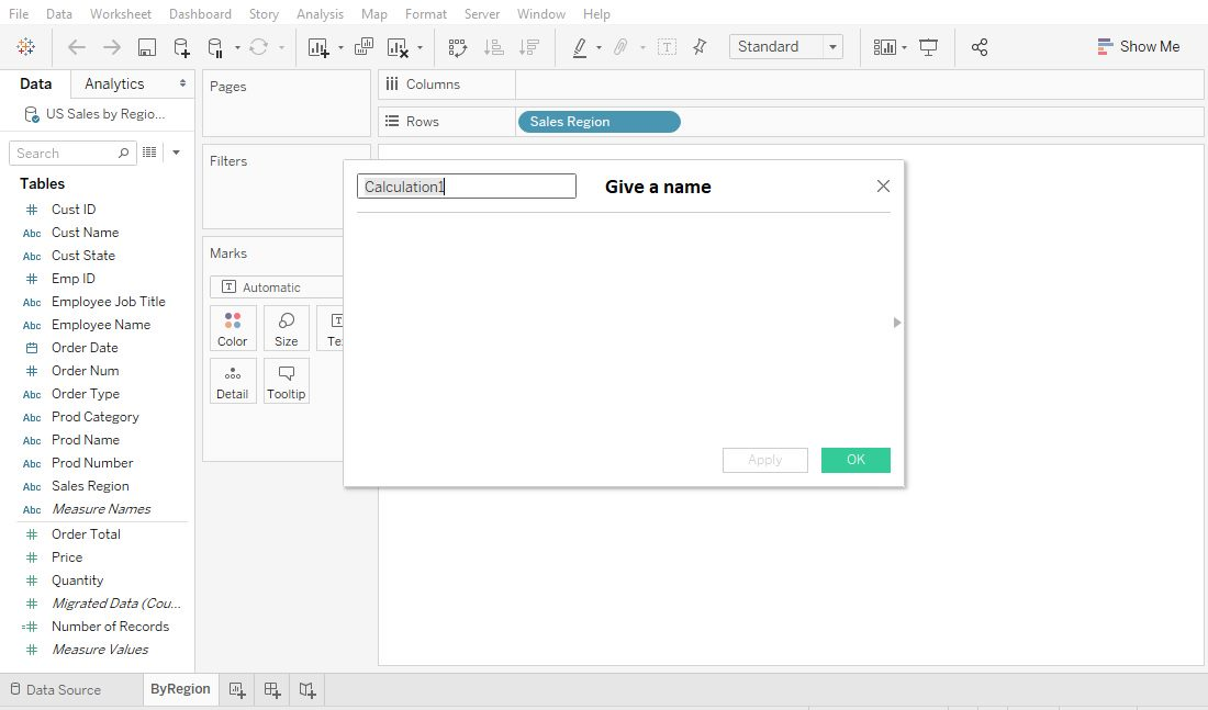 Tableau create calculated field Step 2